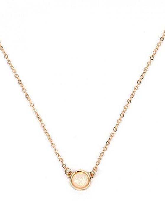 Circle Shape Rhinestoned Pendant Necklace - ذهب