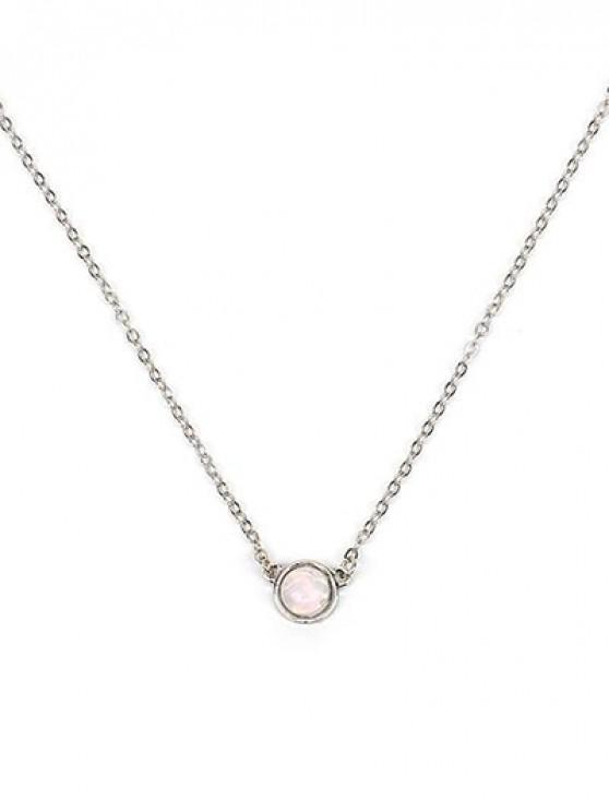 Circle Shape Rhinestoned Pendant Necklace - فضة