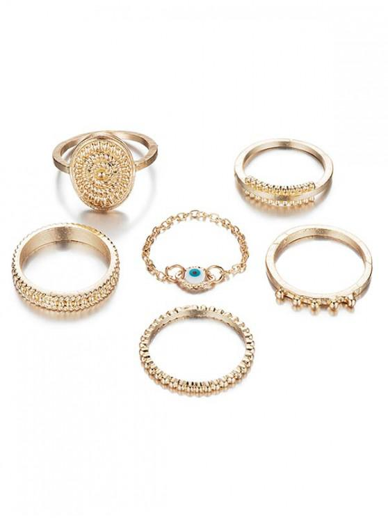 6Pcs Ethnic Style Alloy Rings Set - Ouro