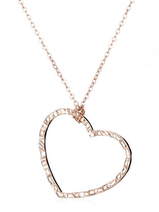 fancy Single Hear Pattern Pendant Necklace - GOLD