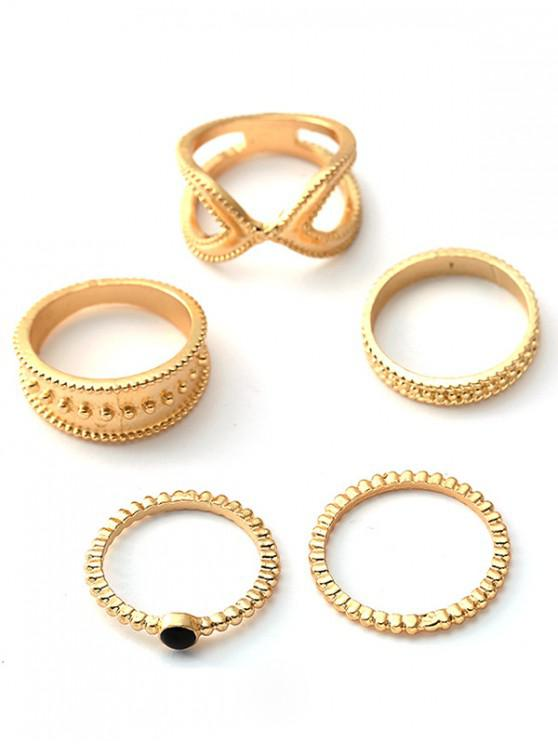 online 5Pcs Retro Design Hollow Rings Set - GOLD