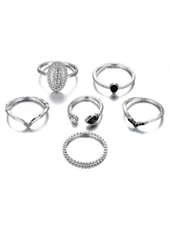6Pcs V Shape Rhinestoned Metal Rings Set - فضة