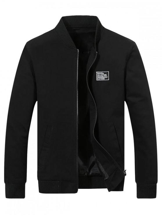 women Chest Applique Bomber Jacket - BLACK M
