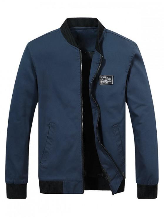 shop Chest Applique Bomber Jacket - CADETBLUE XL