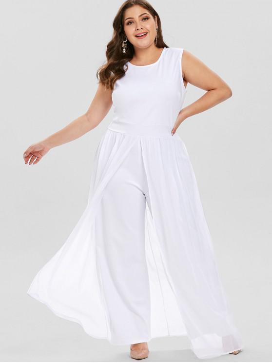 latest Overlay Plus Size Jumpsuit - WHITE 1X