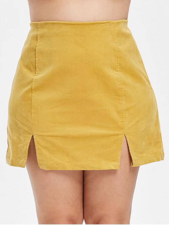 ZAFUL - Plus Size - Schlitzrock aus Cordrock mit Reißverschluss - Biene Gelb 1X