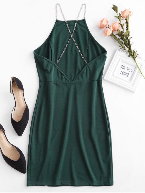 fashion Chain Strap Open Back Bodycon Party Dress - MEDIUM AQUAMARINE L