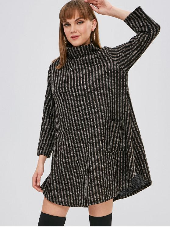 unique Striped High Neck Pocket Tunic Dress - MULTI-A ONE SIZE