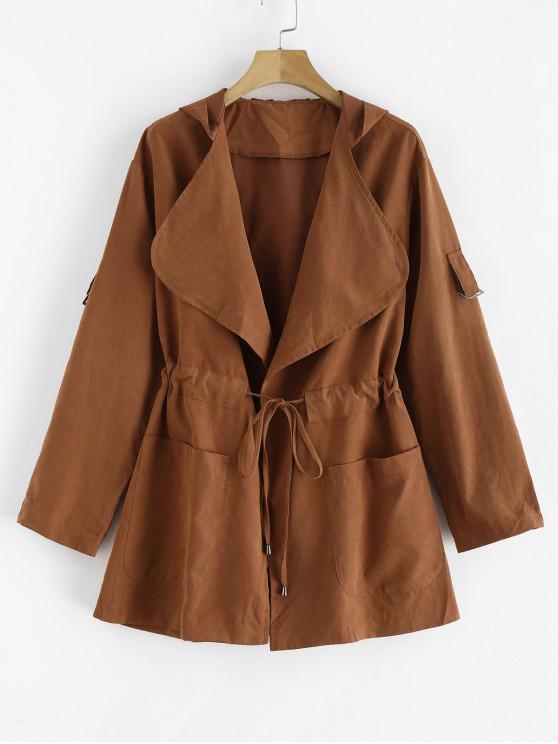 fancy Skirted Open Front Hooded Coat - LIGHT BROWN M