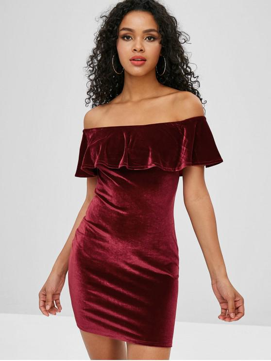 ميني Flounced المخملية قبالة الكتف اللباس - نبيذ احمر M