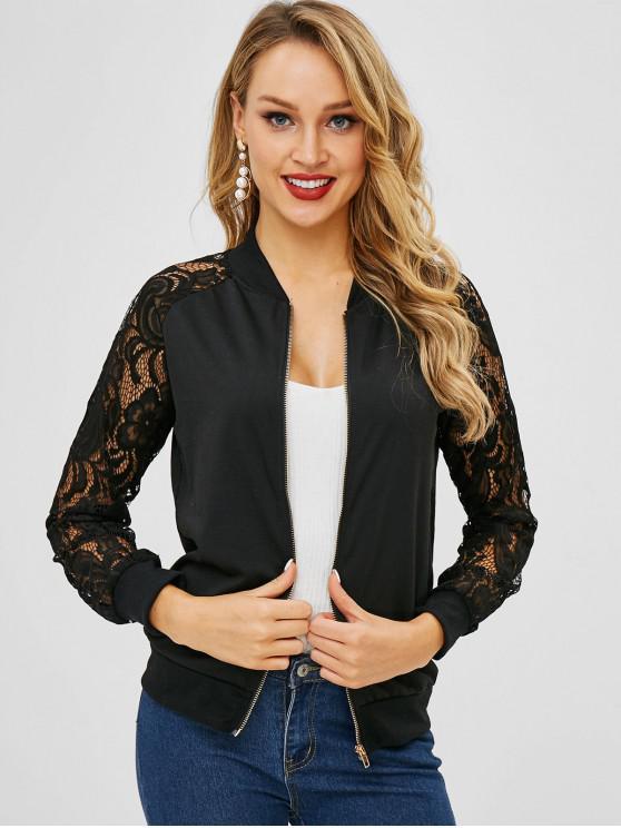 unique Lace Panel Zip Up Jacket - BLACK S