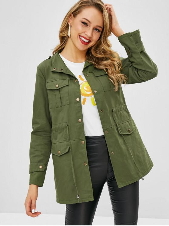 fashion Flap Pocket Longline Snap Button Coat - FERN GREEN M
