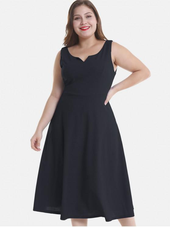 27% OFF] 2019 Sleeveless Plus Size A Line Dress In BLACK | ZAFUL