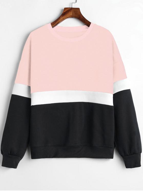 latest Paneled Color Block Fleece Sweatshirt - PINK L