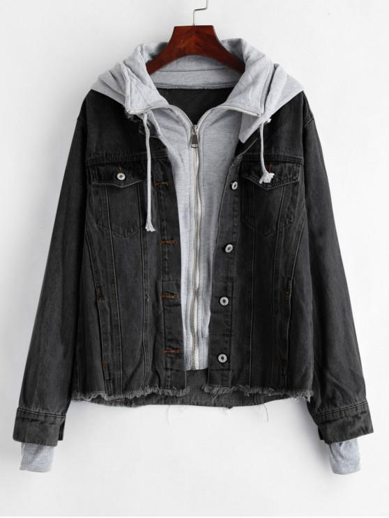 outfit Hooded Frayed Jean Jacket - BLACK M