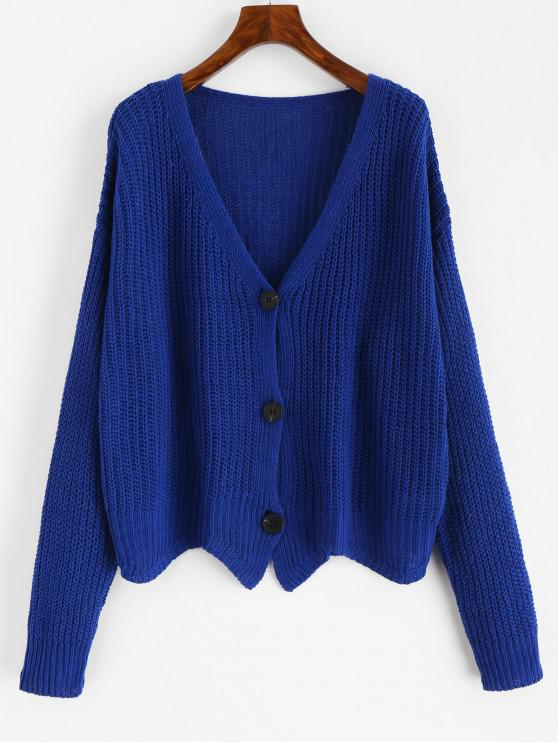fashion Scalloped Chunky Cardigan - COBALT BLUE ONE SIZE
