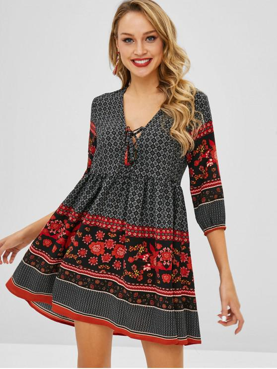 hot ZAFUL Floral Lace-up Plunge Dress - MULTI L