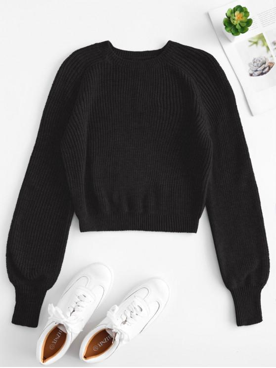 online Raglan Sleeves Crop Sweater - BLACK S