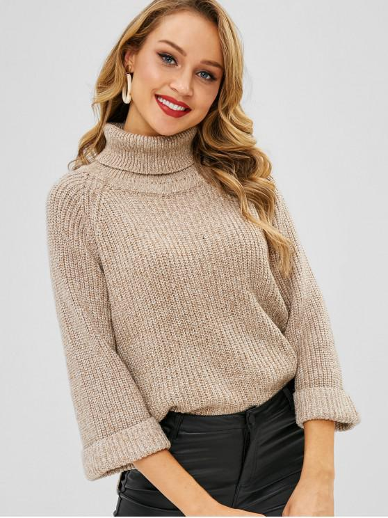 trendy Turtleneck Cuffed Sleeve High Low Sweater - LIGHT KHAKI ONE SIZE