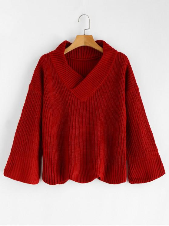 shop Bell Sleeve V Neck  Sweater - RED ONE SIZE
