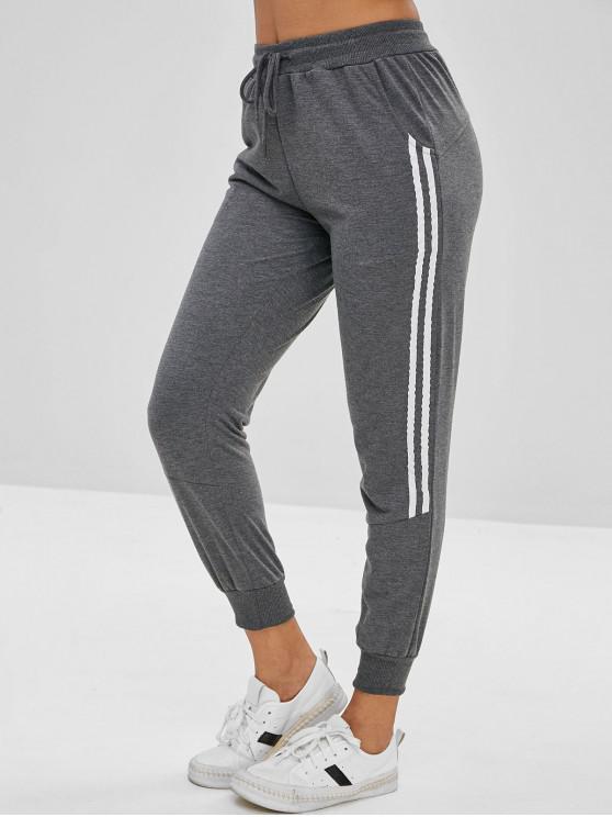 women Drawstring Contrast Trim Jogger Pants - SMOKEY GRAY XL