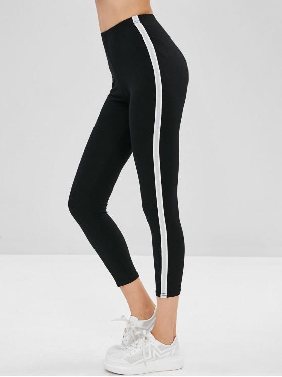 Leggings Novenos Bloques De Color Flaco - Negro L