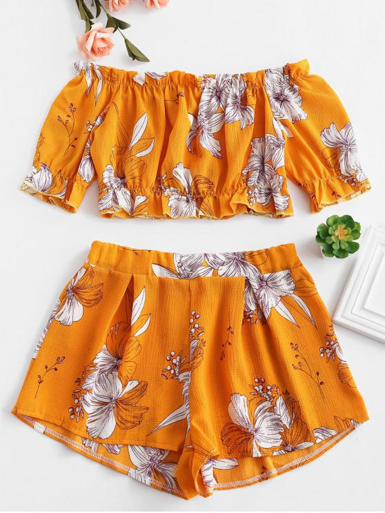 hot Off Shoulder Floral Top And Shorts Set - BEE YELLOW M