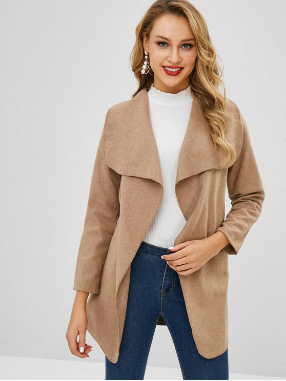 unique Belted Longline Trench Coat - SAND M