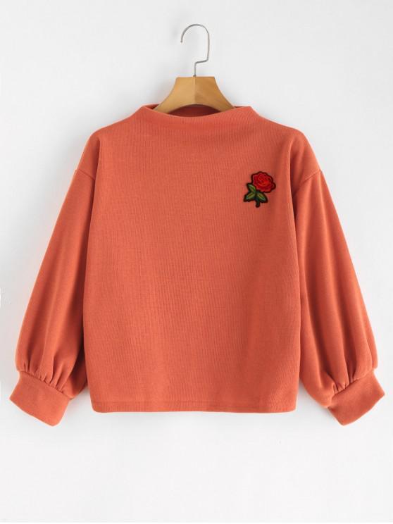 ZAFUL Sweat-shirt Patch Rose Brodée à Manches Lanternes - Orange Papaye Taille Unique