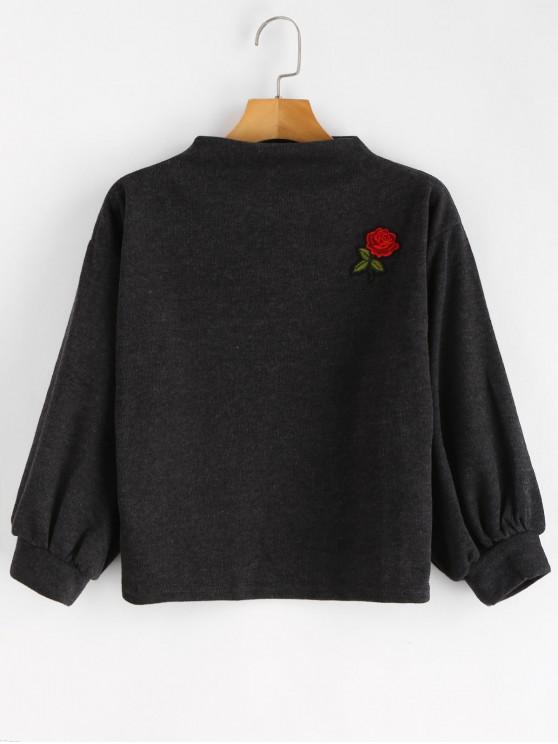 ZAFUL Sweat-shirt Patch Rose Brodée à Manches Lanternes - Gris Carbone Taille Unique