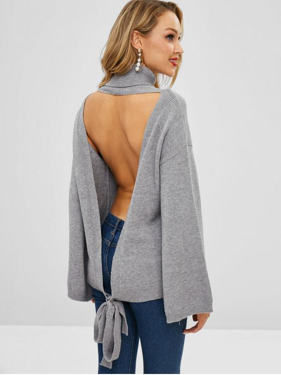 sale ZAFUL Turtleneck Open Back Knotted Sweater - LIGHT GRAY ONE SIZE