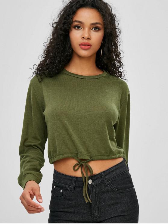 fashion Drop Shoulder Drawstring Hem Crop Sweatshirt - ARMY GREEN L