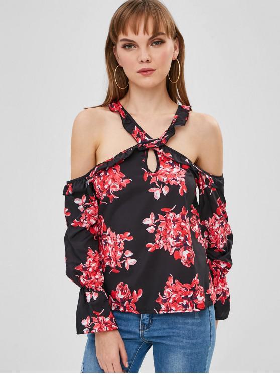 fashion Floral Cold Shoulder Blouse - MULTI XL