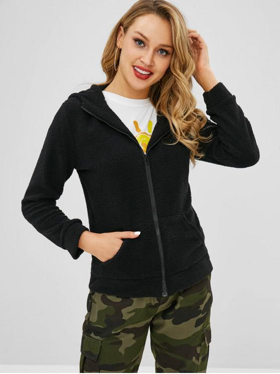 women's Fluffy Hooded Teddy Jacket - BLACK XL