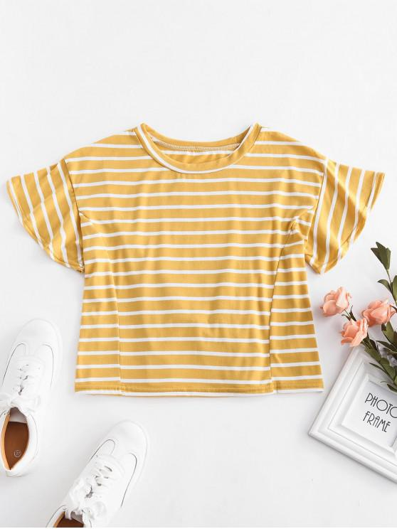 hot Lace Up Stripes Tee - BEE YELLOW XL