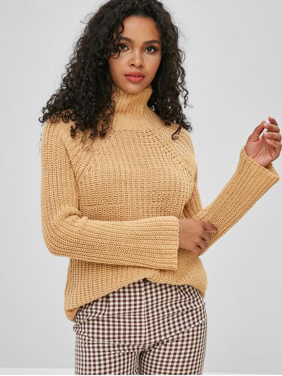best Funnel Neck Chunky Sweater - BEE YELLOW ONE SIZE