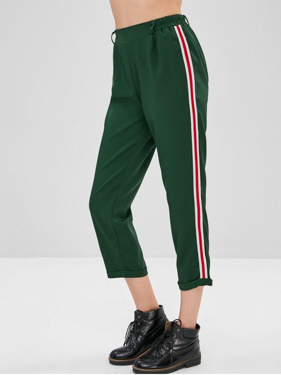 shop Striped Side Cuffed Pants - MEDIUM SEA GREEN M