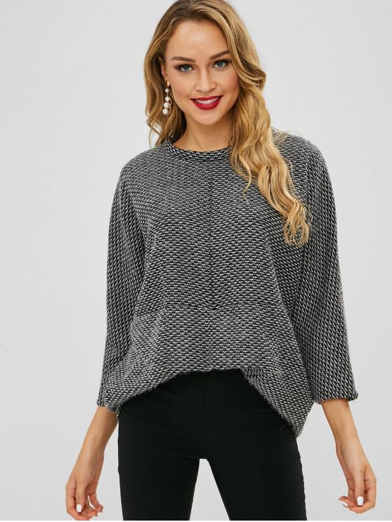 sale High Low Batwing Sleeve Sweatshirt - GRAY ONE SIZE
