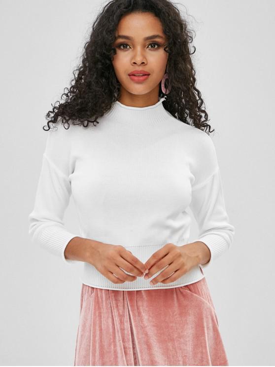 shop Rolled Hem Mock Neck Sweater - WHITE ONE SIZE