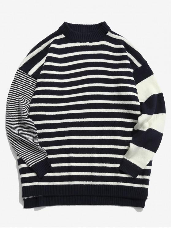 shop Contrast Striped Loose Knit Sweater - CADETBLUE 2XL