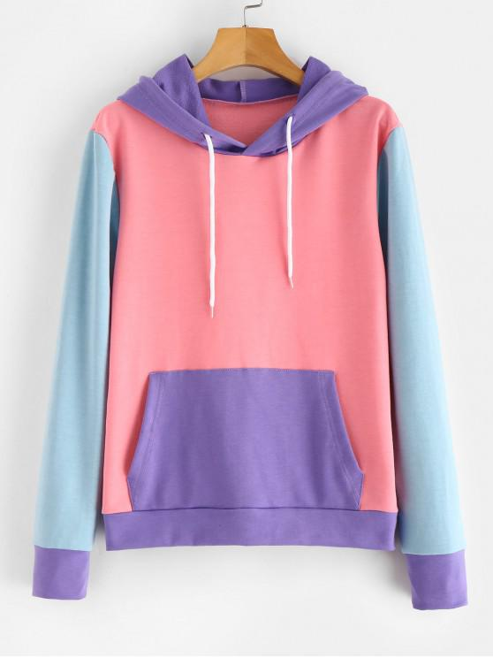 latest ZAFUL Front Pocket Color Block Hoodie - FLAMINGO PINK ONE SIZE