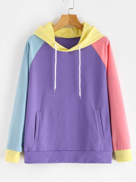 sale ZAFUL Pockets Color Block Hoodie - CROCUS PURPLE ONE SIZE