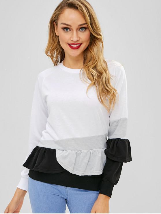 Sweat-shirt en Blocs de Couleurs à Volants - Blanc L