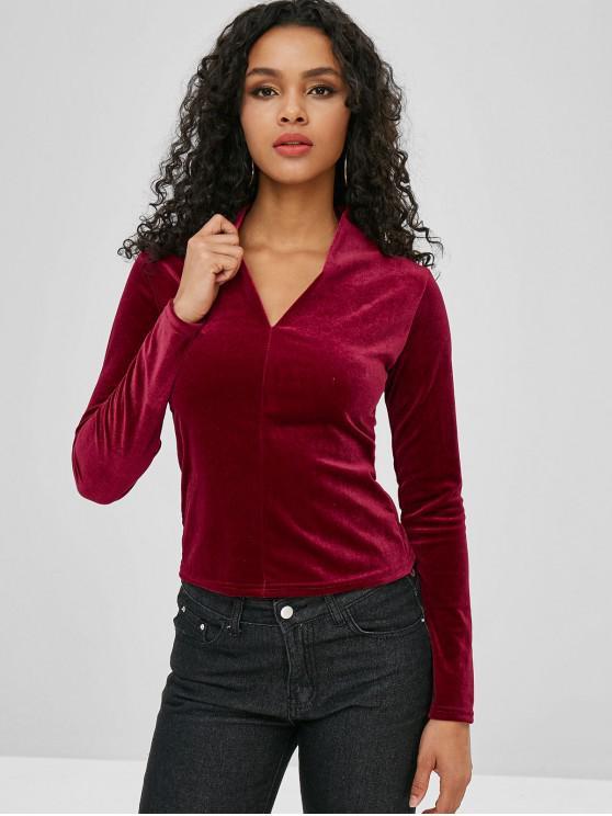 T-Shirt In Velluto Con Maniche Lunghe - Vino Rosso Taglia unica