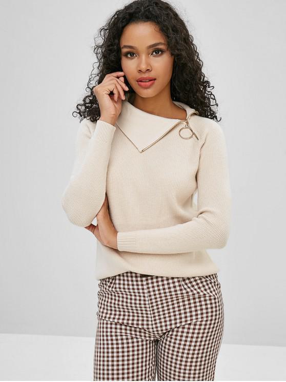 hot Raglan Sleeve Zip Grommet Sweater - LIGHT KHAKI ONE SIZE