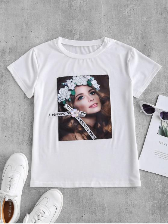 trendy Figure Rhinestone Floral Applique Graphic Tee - WHITE M