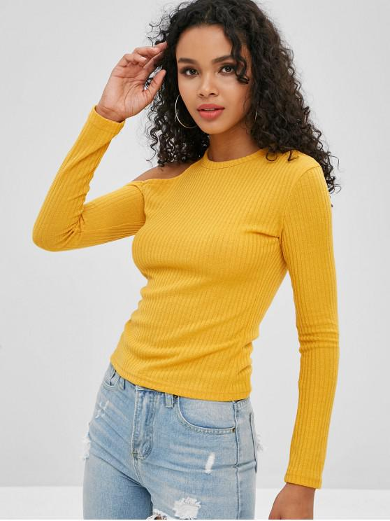 shops Cold Shoulder Fitted T-shirt - YELLOW S