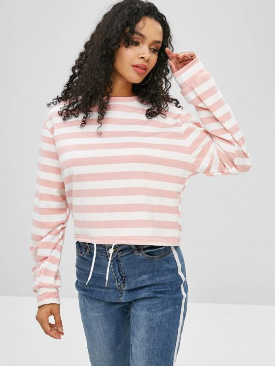 unique Striped Drawstring Hem Sweatshirt - SAKURA PINK M