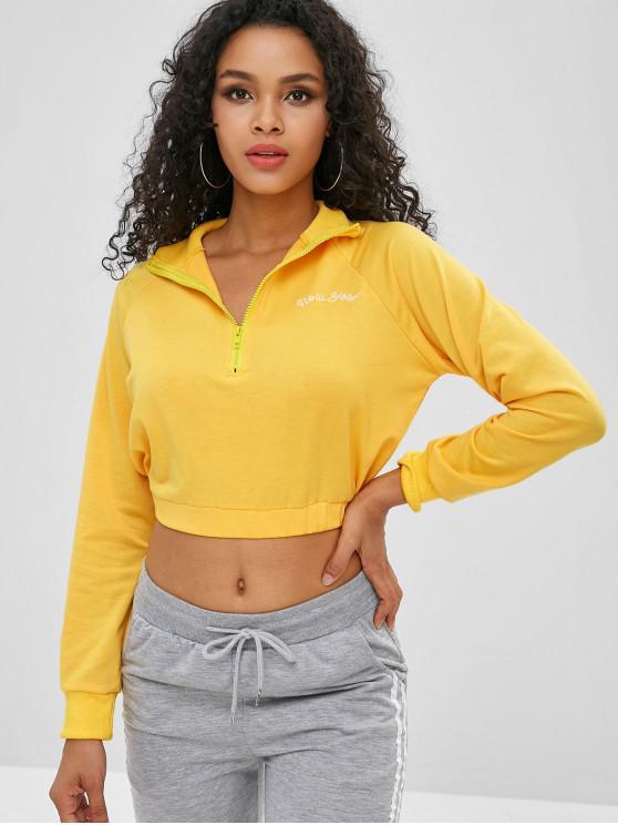 buy Half Zipper Letter Embroidered Crop Sweatshirt - YELLOW XL