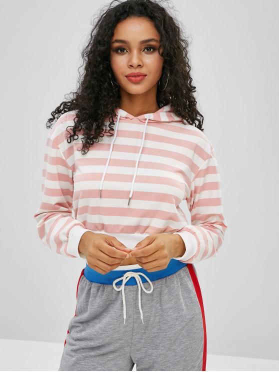women Striped Drop Shoulder Crop Hoodie - SAKURA PINK M